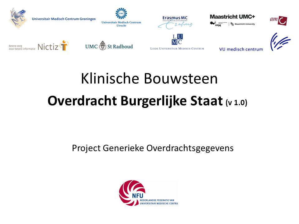 Klinische Bouwsteen Project Generieke Overdrachtsgegevens Overdracht Burgerlijke Staat (v 1.0)