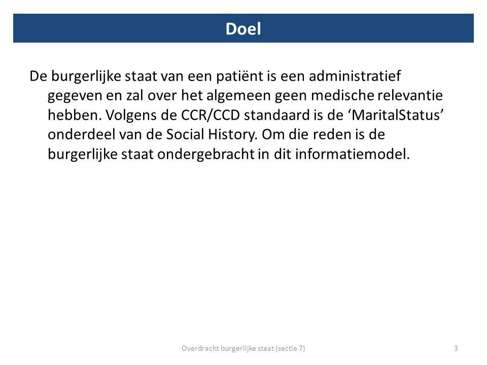 Doel De burgerlijke staat van een patiënt is een administratief gegeven en zal over het algemeen geen medische relevantie hebben. Volgens de CCR/CCD s