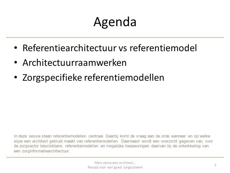 REFERENTIEMODELLEN EN – ARCHITECTUREN IN DE ZORG Men neme een architect...