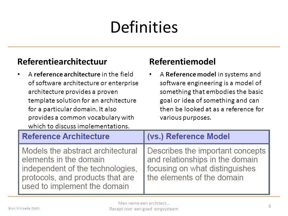 Referentiemodel en –architectuur: De samenhang Men neme een architect...