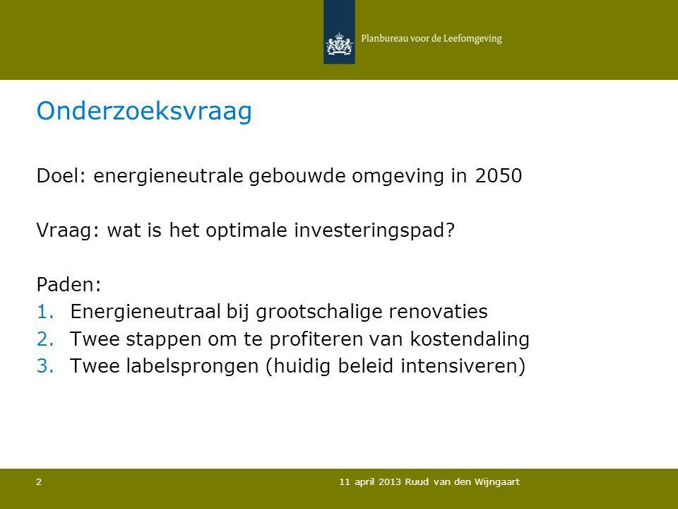 Kenmerken investeringspaden Twee labelsTwee stappenEnergiesprong Innovatief+/-+++++ Ingrijpend++++++ Baten/investering – korte termijn ++/-- Baten/investering - Lange termijn LaagHoogMidden 11 april 2013 Ruud van den Wijngaart 3