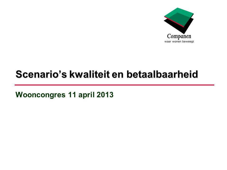Wooncongres 11 april 2013 Scenario's kwaliteit en betaalbaarheid