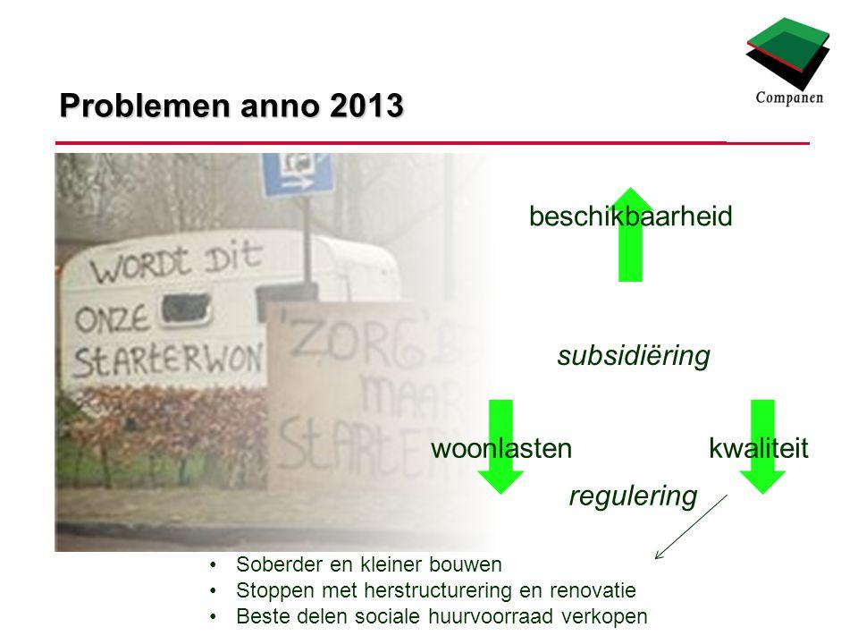 Problemen anno 2013 woonlastenkwaliteit beschikbaarheid regulering subsidiëring Soberder en kleiner bouwen Stoppen met herstructurering en renovatie Beste delen sociale huurvoorraad verkopen