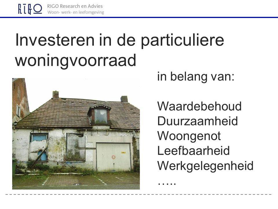 Investeren in de particuliere woningvoorraad in belang van: Waardebehoud Duurzaamheid Woongenot Leefbaarheid Werkgelegenheid …..