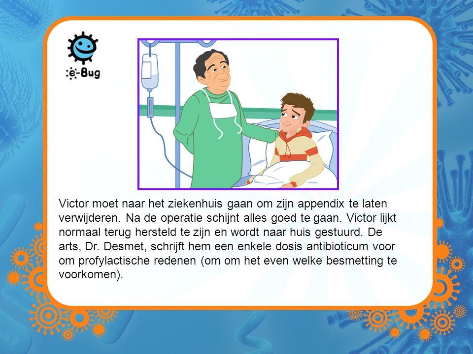 Victor moet naar het ziekenhuis gaan om zijn appendix te laten verwijderen. Na de operatie schijnt alles goed te gaan. Victor lijkt normaal terug hers