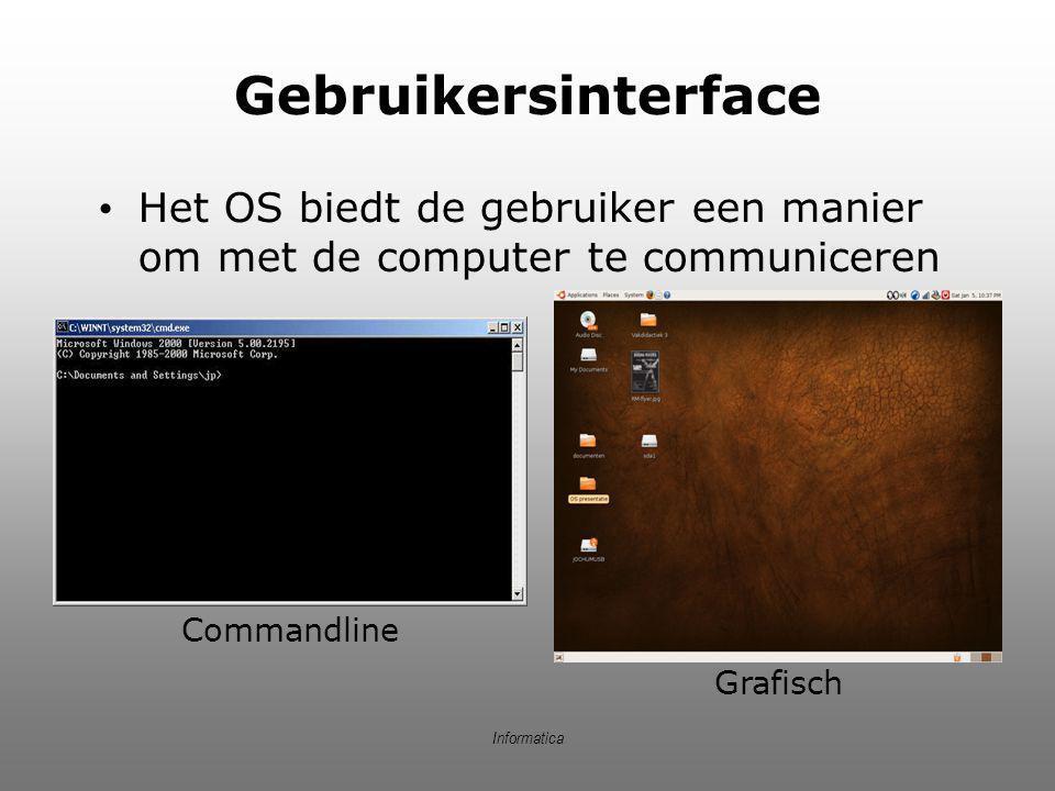 Informatica Gebruikersinterface Het OS biedt de gebruiker een manier om met de computer te communiceren Commandline Grafisch