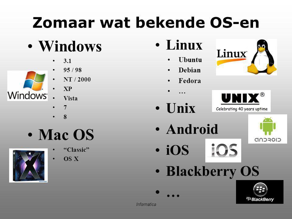 "Informatica Zomaar wat bekende OS-en Windows 3.1 95 / 98 NT / 2000 XP Vista 7 8 Mac OS ""Classic"" OS X Linux Ubuntu Debian Fedora … Unix Android iOS Bl"