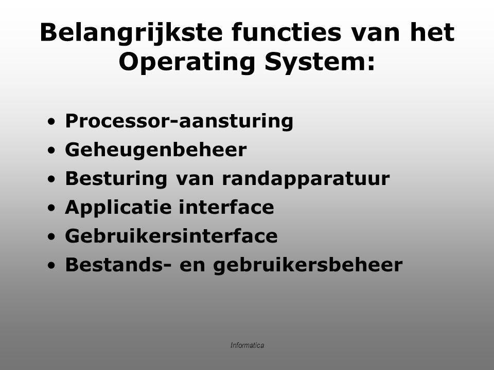 Informatica Belangrijkste functies van het Operating System: Processor-aansturing Geheugenbeheer Besturing van randapparatuur Applicatie interface Geb
