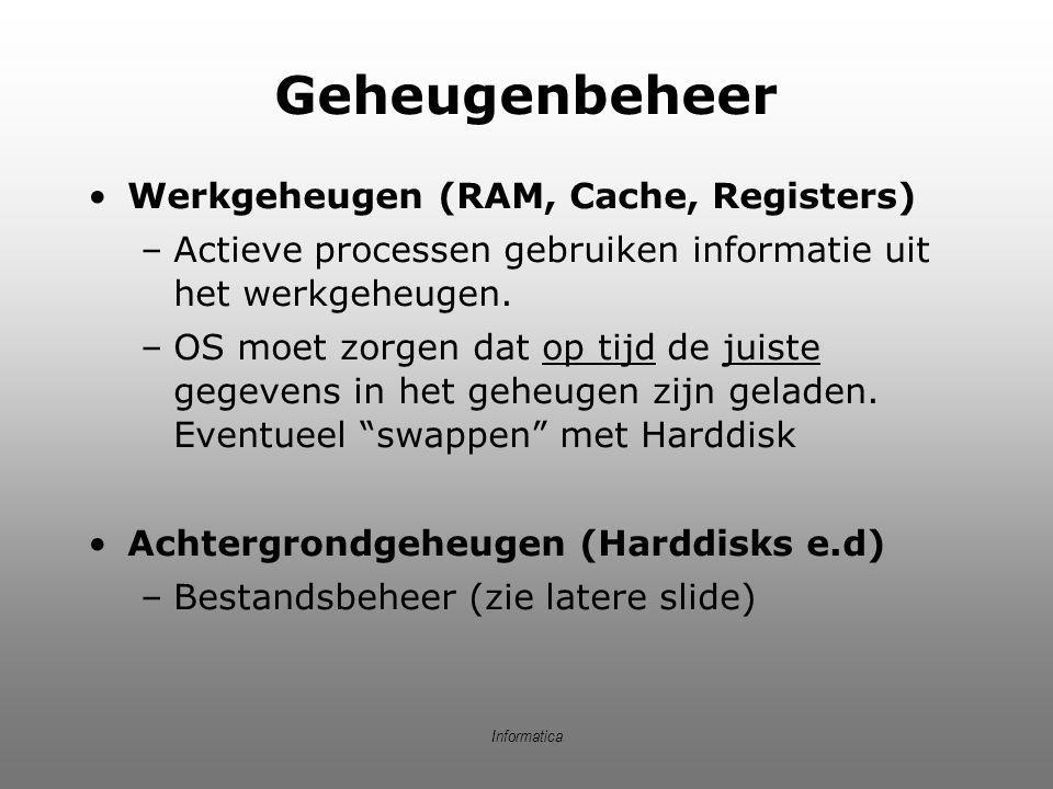 Geheugenbeheer Werkgeheugen (RAM, Cache, Registers) –Actieve processen gebruiken informatie uit het werkgeheugen. –OS moet zorgen dat op tijd de juist
