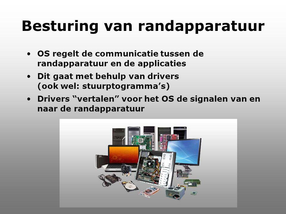 Informatica Besturing van randapparatuur OS regelt de communicatie tussen de randapparatuur en de applicaties Dit gaat met behulp van drivers (ook wel