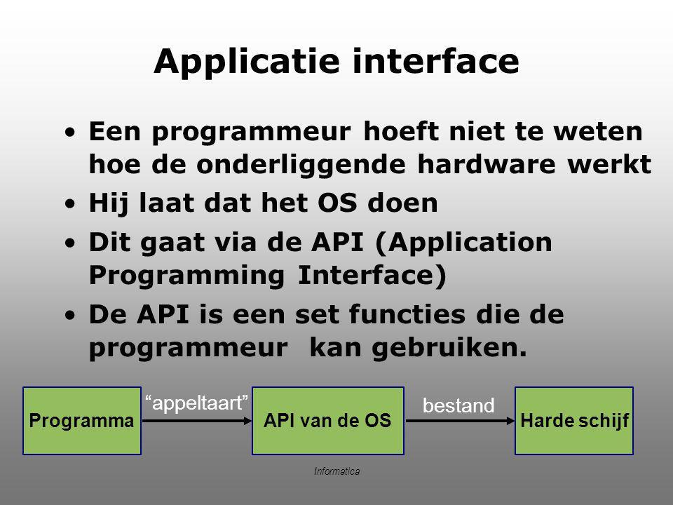 Informatica Applicatie interface Een programmeur hoeft niet te weten hoe de onderliggende hardware werkt Hij laat dat het OS doen Dit gaat via de API