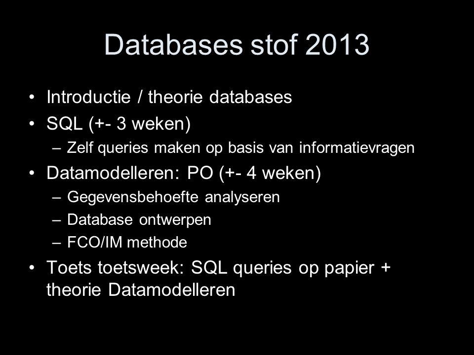 Databases stof 2013 Introductie / theorie databases SQL (+- 3 weken) –Zelf queries maken op basis van informatievragen Datamodelleren: PO (+- 4 weken)