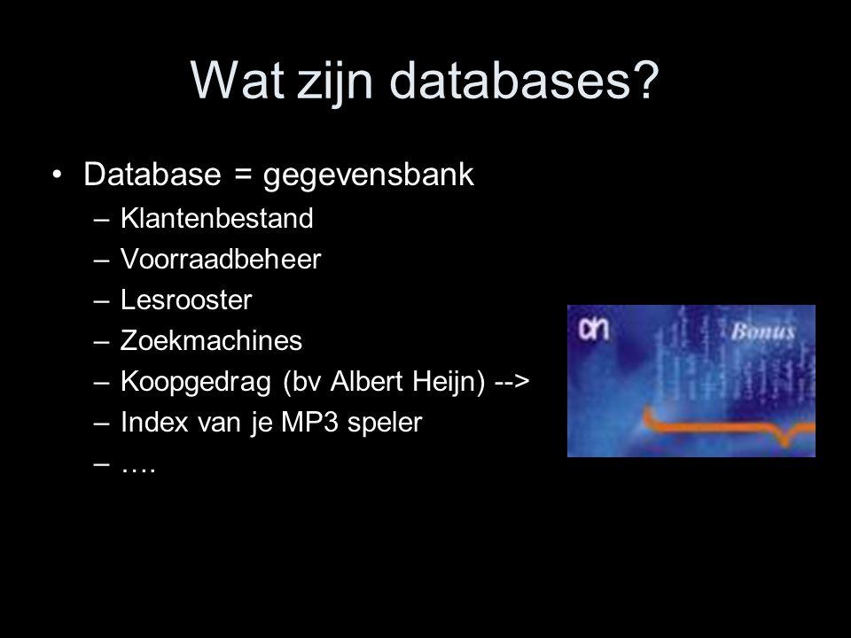 Wat zijn databases? Database = gegevensbank –Klantenbestand –Voorraadbeheer –Lesrooster –Zoekmachines –Koopgedrag (bv Albert Heijn) --> –Index van je