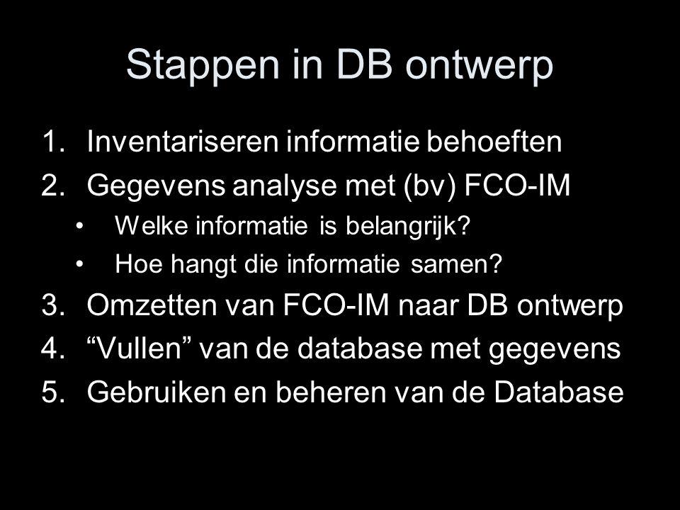 Stappen in DB ontwerp 1.Inventariseren informatie behoeften 2.Gegevens analyse met (bv) FCO-IM Welke informatie is belangrijk? Hoe hangt die informati