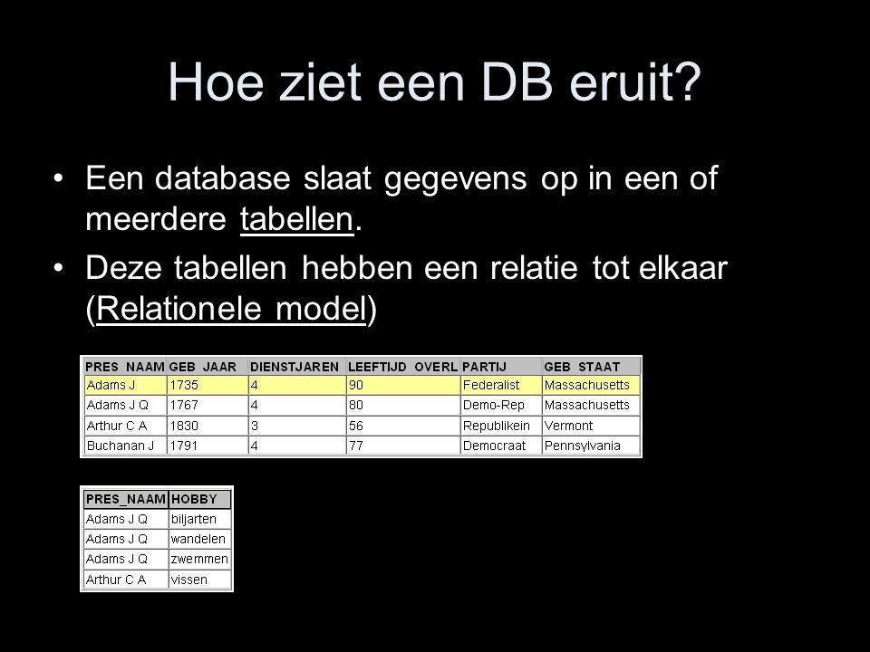 Hoe ziet een DB eruit? Een database slaat gegevens op in een of meerdere tabellen. Deze tabellen hebben een relatie tot elkaar (Relationele model)
