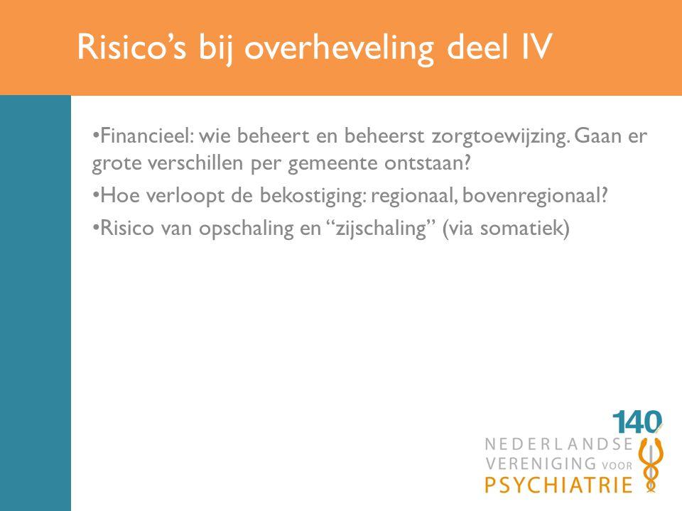 Risico's bij overheveling deel IV Financieel: wie beheert en beheerst zorgtoewijzing.