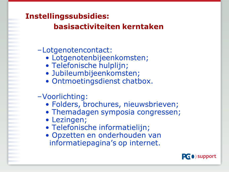 Instellingssubsidies: basisactiviteiten kerntaken –Lotgenotencontact: Lotgenotenbijeenkomsten; Telefonische hulplijn; Jubileumbijeenkomsten; Ontmoetingsdienst chatbox.