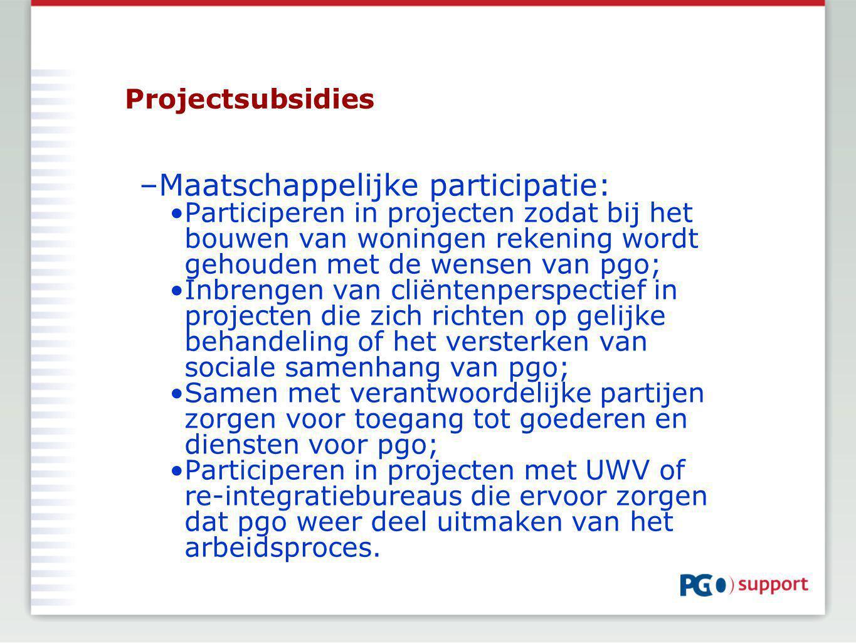 Projectsubsidies –Maatschappelijke participatie: Participeren in projecten zodat bij het bouwen van woningen rekening wordt gehouden met de wensen van pgo; Inbrengen van cliëntenperspectief in projecten die zich richten op gelijke behandeling of het versterken van sociale samenhang van pgo; Samen met verantwoordelijke partijen zorgen voor toegang tot goederen en diensten voor pgo; Participeren in projecten met UWV of re-integratiebureaus die ervoor zorgen dat pgo weer deel uitmaken van het arbeidsproces.
