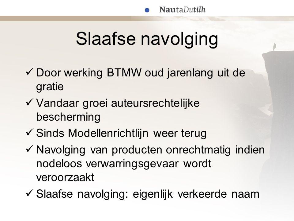 Slaafse navolgingsleer; de basis Bescherming tegen verwarringsgevaar; zie Borsumij/Stenman Verankerd in art.