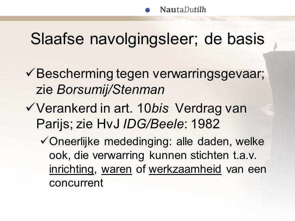 Slaafse navolgingsleer; de basis Bescherming tegen verwarringsgevaar; zie Borsumij/Stenman Verankerd in art. 10bis Verdrag van Parijs; zie HvJ IDG/Bee