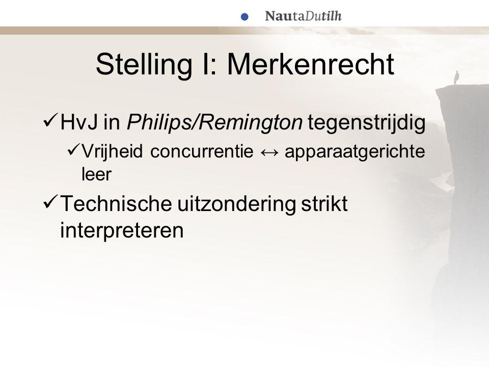 Stelling I: Merkenrecht HvJ in Philips/Remington tegenstrijdig Vrijheid concurrentie ↔ apparaatgerichte leer Technische uitzondering strikt interprete