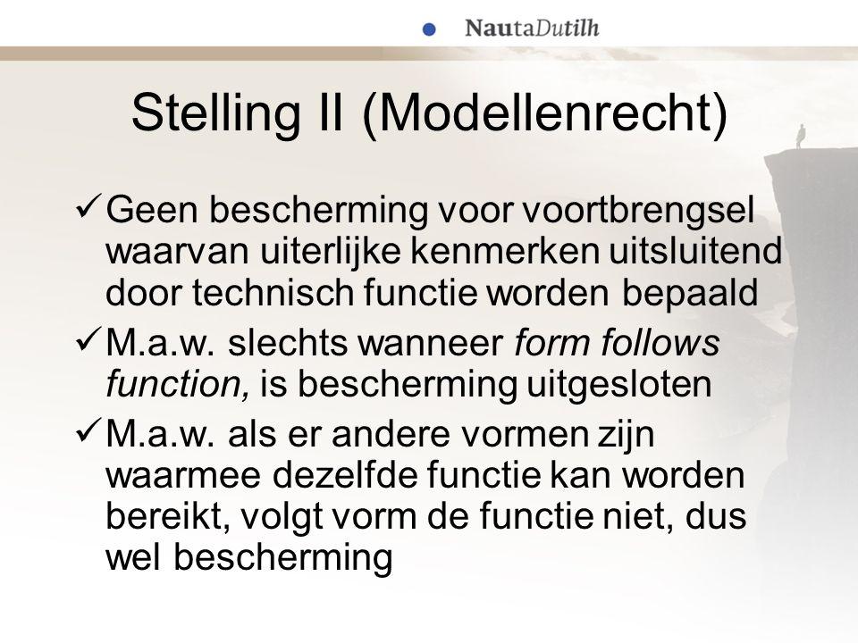 Stelling II (Modellenrecht) Geen bescherming voor voortbrengsel waarvan uiterlijke kenmerken uitsluitend door technisch functie worden bepaald M.a.w.