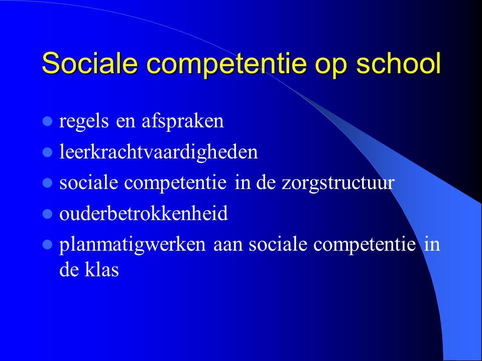 Sociale competentie op school regels en afspraken leerkrachtvaardigheden sociale competentie in de zorgstructuur ouderbetrokkenheid planmatigwerken aa