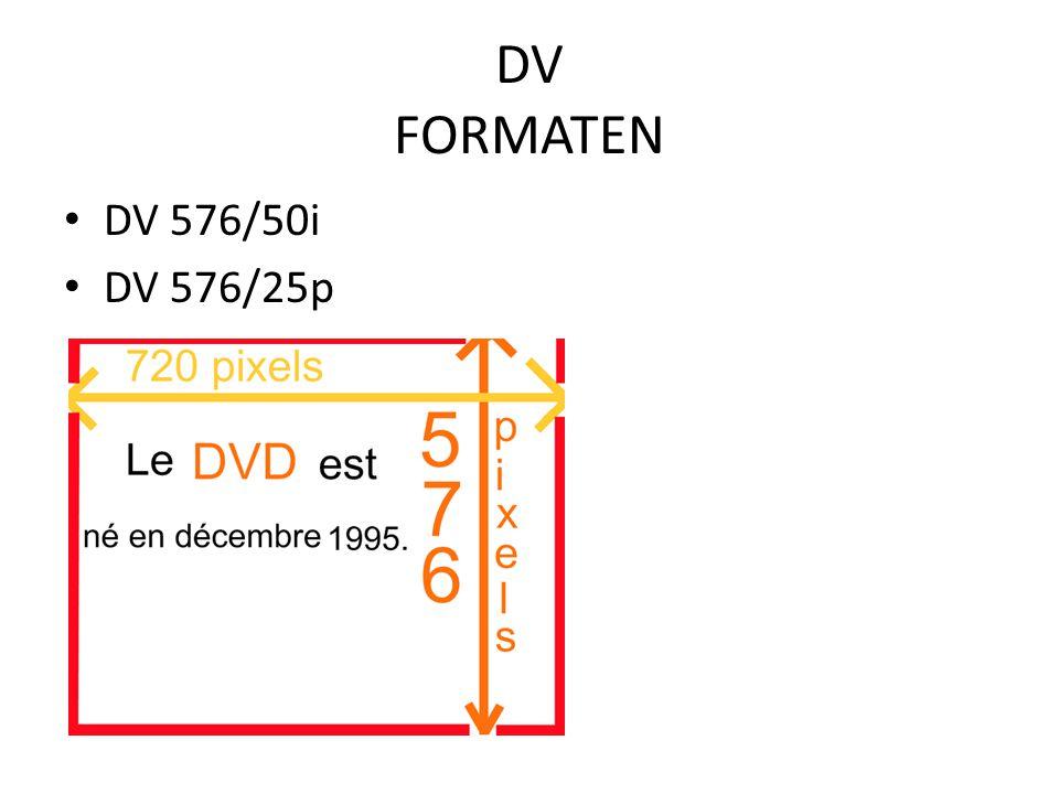 DV FORMATEN DV 576/50i DV 576/25p