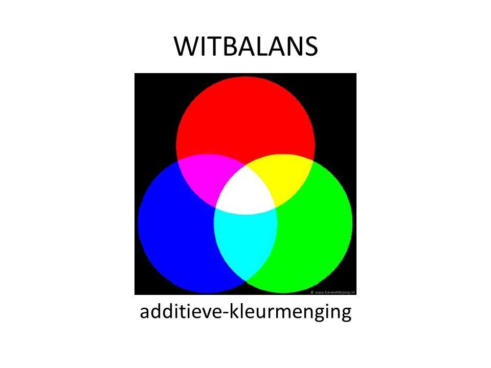 WITBALANS De camera mengt RGB in bepaalde verhouding zodat wit wit wordt onder het gemeten licht Op automaat: de camera beslist.