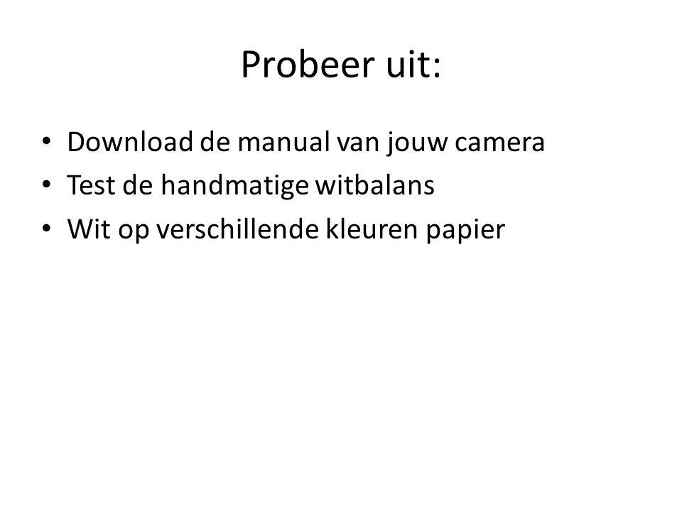 Probeer uit: Download de manual van jouw camera Test de handmatige witbalans Wit op verschillende kleuren papier