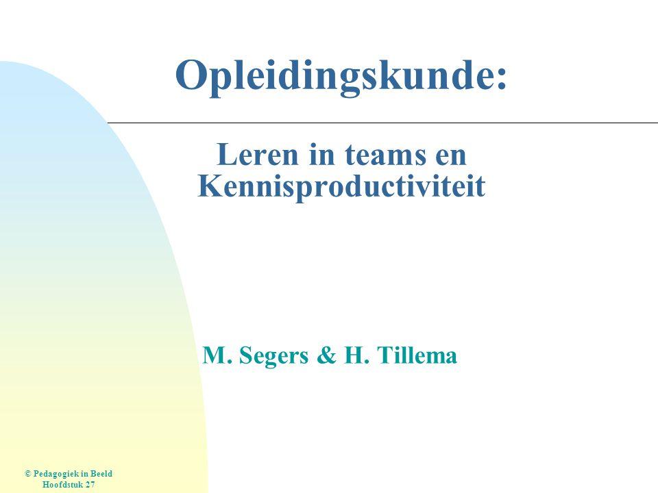 Opleidingskunde: Leren in teams en Kennisproductiviteit M. Segers & H. Tillema © Pedagogiek in Beeld Hoofdstuk 27