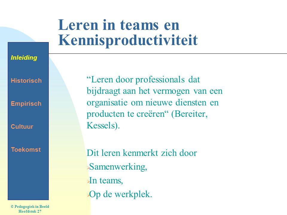 Leren in teams en Kennisproductiviteit Leren door professionals dat bijdraagt aan het vermogen van een organisatie om nieuwe diensten en producten te creëren (Bereiter, Kessels).
