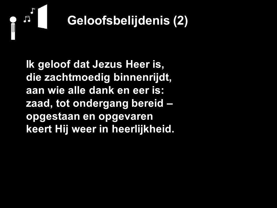 Geloofsbelijdenis (2) Ik geloof dat Jezus Heer is, die zachtmoedig binnenrijdt, aan wie alle dank en eer is: zaad, tot ondergang bereid – opgestaan en opgevaren keert Hij weer in heerlijkheid.