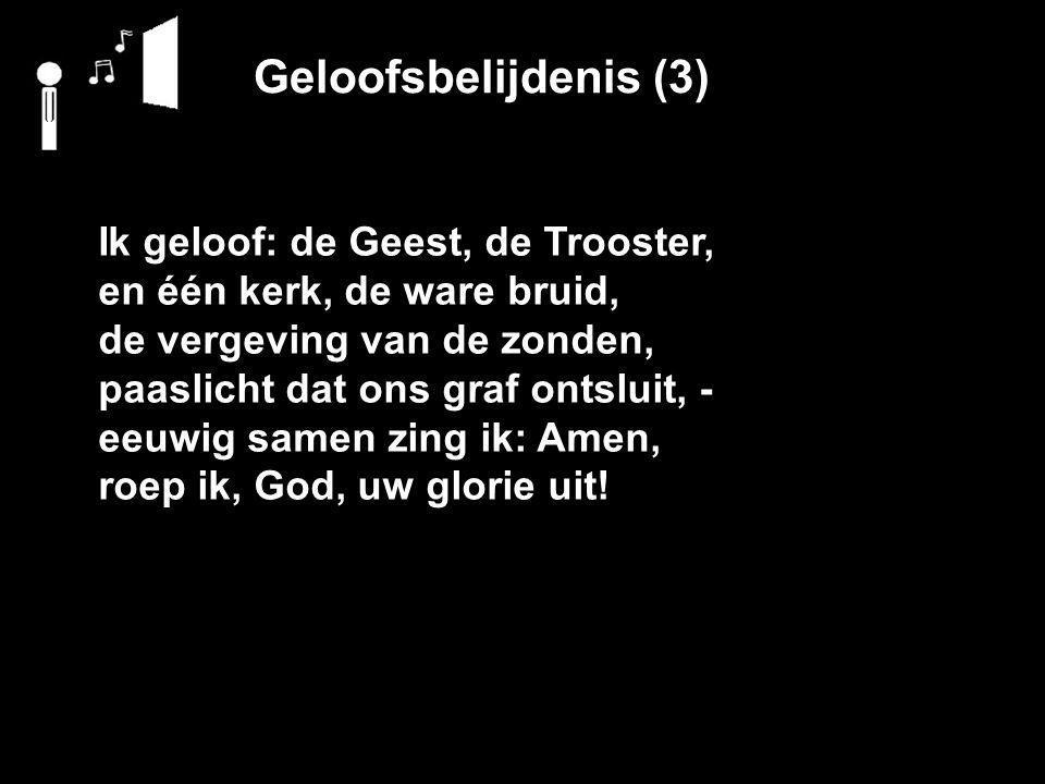 Geloofsbelijdenis (3) Ik geloof: de Geest, de Trooster, en één kerk, de ware bruid, de vergeving van de zonden, paaslicht dat ons graf ontsluit, - eeuwig samen zing ik: Amen, roep ik, God, uw glorie uit!