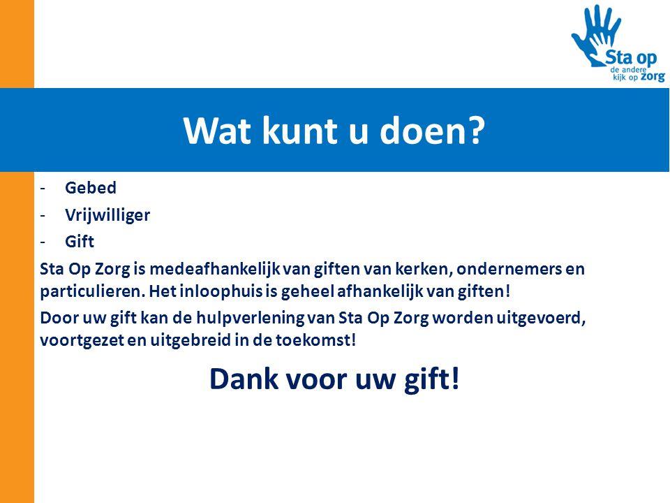 -Gebed -Vrijwilliger -Gift Sta Op Zorg is medeafhankelijk van giften van kerken, ondernemers en particulieren. Het inloophuis is geheel afhankelijk va