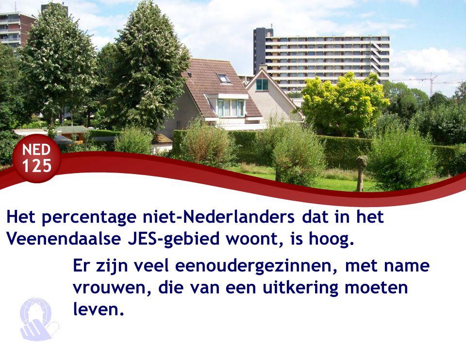 NED 125 Het percentage niet-Nederlanders dat in het Veenendaalse JES-gebied woont, is hoog. Er zijn veel eenoudergezinnen, met name vrouwen, die van e
