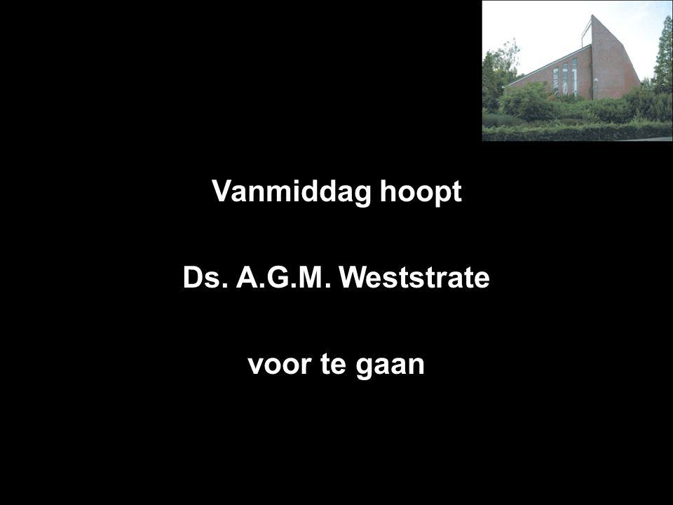 Vanmiddag hoopt Ds. A.G.M. Weststrate voor te gaan