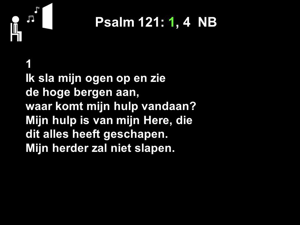 Psalm 121: 1, 4 NB 1 Ik sla mijn ogen op en zie de hoge bergen aan, waar komt mijn hulp vandaan? Mijn hulp is van mijn Here, die dit alles heeft gesch