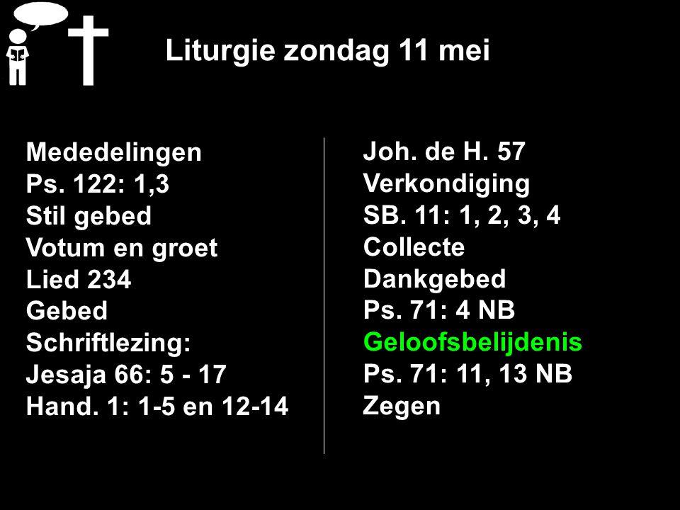 Liturgie zondag 11 mei Mededelingen Ps.