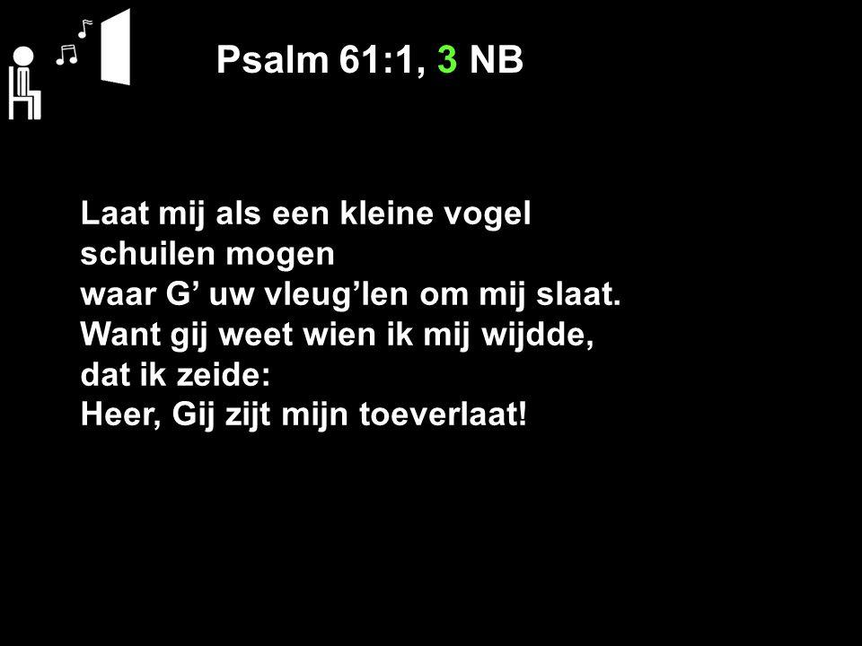 Psalm 61:1, 3 NB Laat mij als een kleine vogel schuilen mogen waar G' uw vleug'len om mij slaat. Want gij weet wien ik mij wijdde, dat ik zeide: Heer,