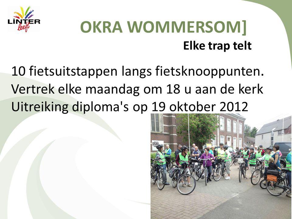 OKRA WOMMERSOM] Elke trap telt 10 fietsuitstappen langs fietsknooppunten.