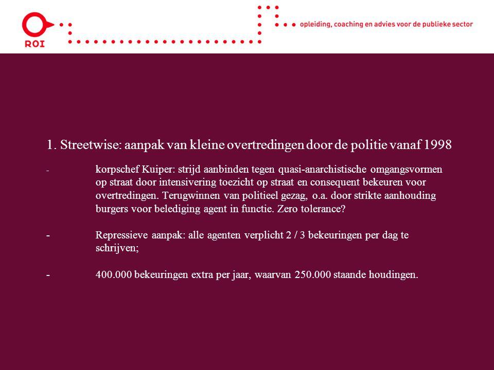 1. Streetwise: aanpak van kleine overtredingen door de politie vanaf 1998 - korpschef Kuiper: strijd aanbinden tegen quasi-anarchistische omgangsvorme