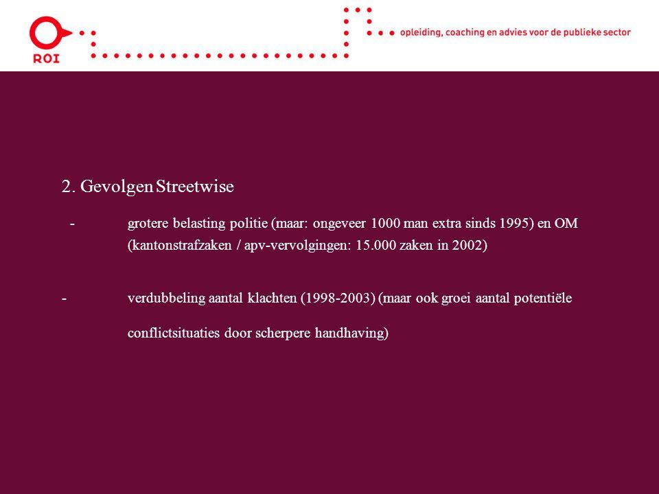 2. Gevolgen Streetwise -grotere belasting politie (maar: ongeveer 1000 man extra sinds 1995) en OM (kantonstrafzaken / apv-vervolgingen: 15.000 zaken