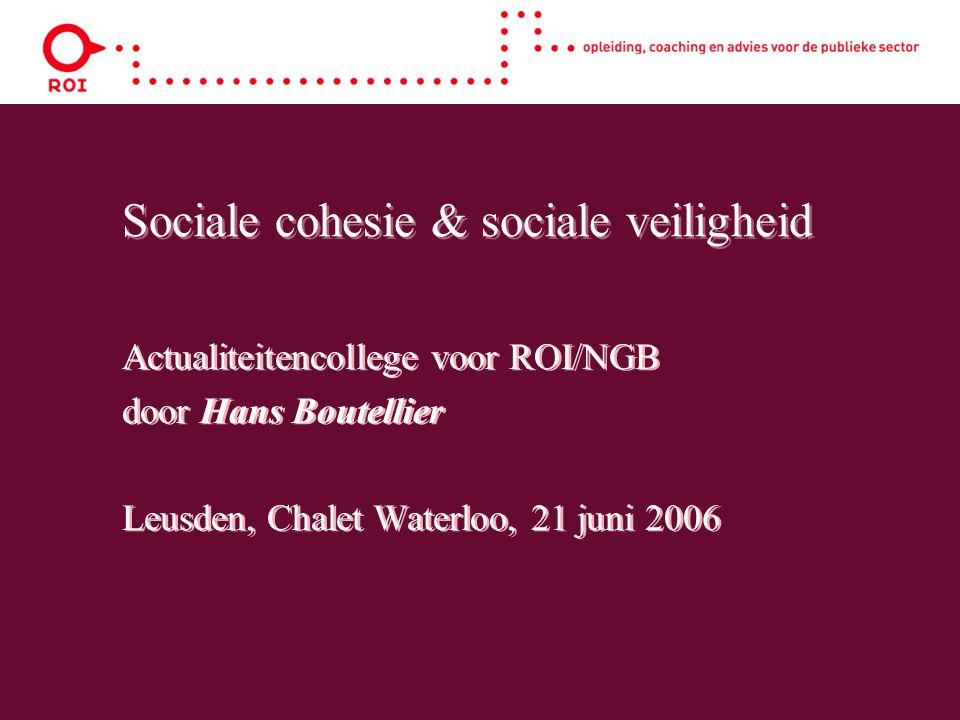 Sociale cohesie & sociale veiligheid Actualiteitencollege voor ROI/NGB door Hans Boutellier Leusden, Chalet Waterloo, 21 juni 2006 Actualiteitencollege voor ROI/NGB door Hans Boutellier Leusden, Chalet Waterloo, 21 juni 2006