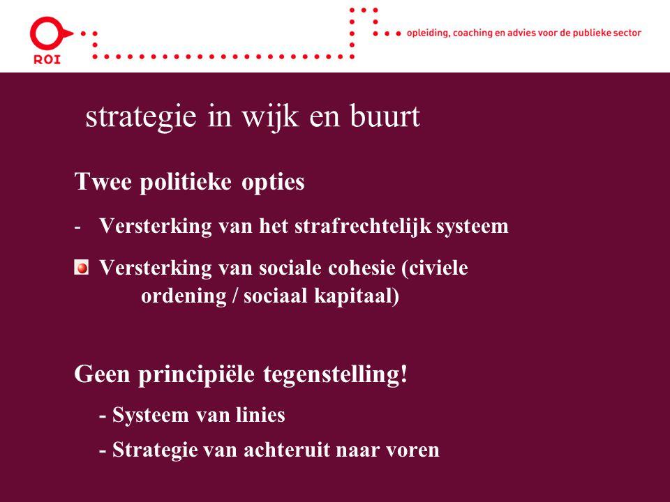 strategie in wijk en buurt Twee politieke opties -Versterking van het strafrechtelijk systeem Versterking van sociale cohesie (civiele ordening / sociaal kapitaal) Geen principiële tegenstelling.