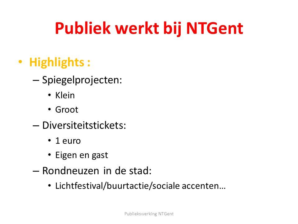 Publiek werkt bij NTGent Highlights : – Spiegelprojecten: Klein Groot – Diversiteitstickets: 1 euro Eigen en gast – Rondneuzen in de stad: Lichtfestiv