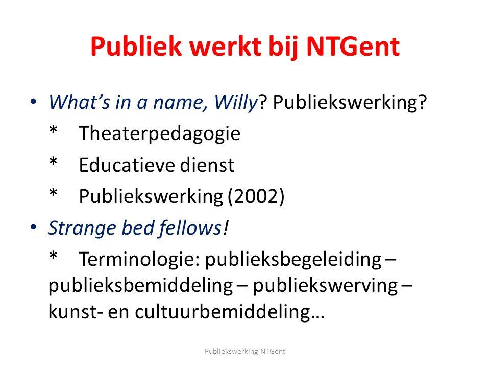 Publiek werkt bij NTGent What's in a name, Willy? Publiekswerking? *Theaterpedagogie *Educatieve dienst * Publiekswerking (2002) Strange bed fellows!