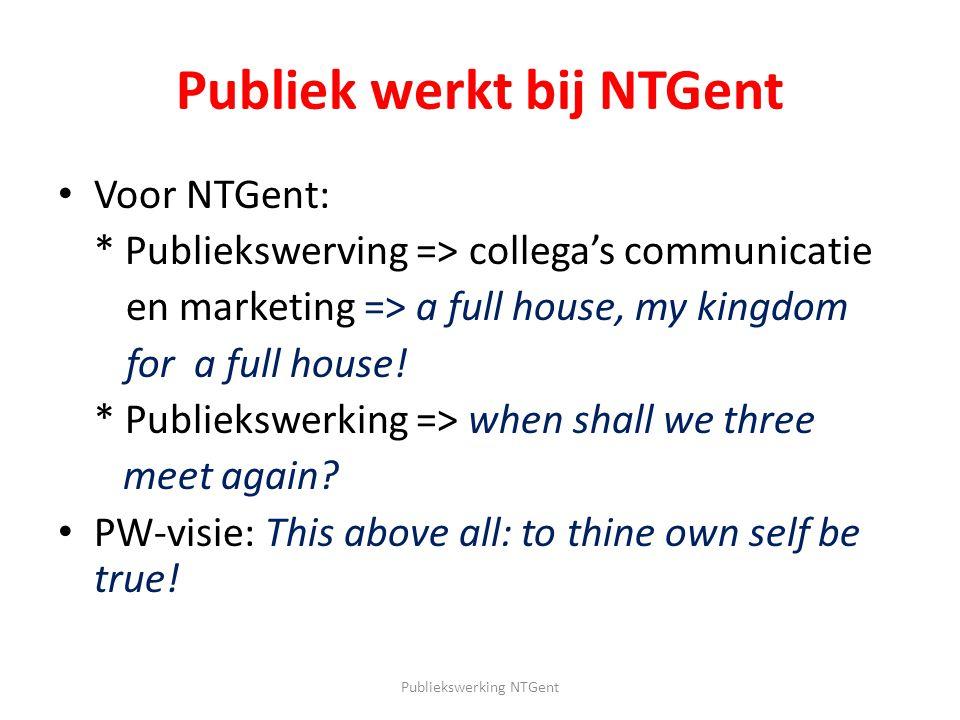 Publiek werkt bij NTGent Voor NTGent: * Publiekswerving => collega's communicatie en marketing => a full house, my kingdom for a full house! * Publiek