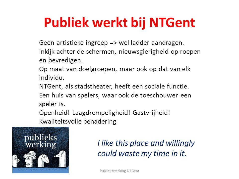 Publiek werkt bij NTGent Publiekswerking NTGent Geen artistieke ingreep => wel ladder aandragen. Inkijk achter de schermen, nieuwsgierigheid op roepen