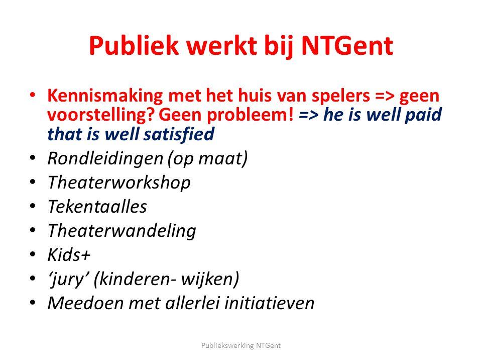 Publiek werkt bij NTGent Kennismaking met het huis van spelers => geen voorstelling? Geen probleem! => he is well paid that is well satisfied Rondleid